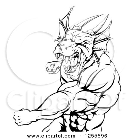 Clipart of a Black and White Muscular Dragon Man Punching - Royalty Free Vector Illustration by AtStockIllustration