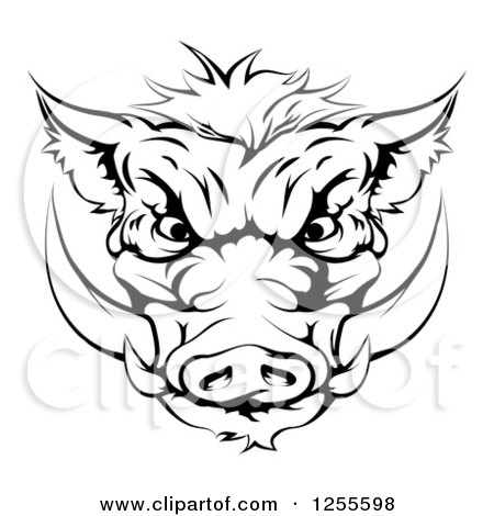 Clipart of a Black and White Aggressive Boar Mascot Head - Royalty Free Vector Illustration by AtStockIllustration