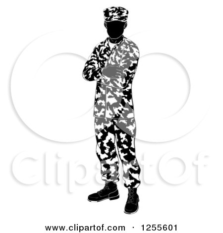 Clipart of a Black and White Silhouetted Army Soldier Standing with Folded Arms - Royalty Free Vector Illustration by AtStockIllustration