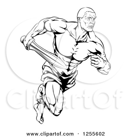 Clipart of a Black and White Muscular Gladiator Running with a Sword - Royalty Free Vector Illustration by AtStockIllustration