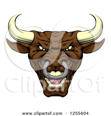 Clipart of a Mad Brown Bull Mascot Head - Royalty Free Vector Illustration by AtStockIllustration