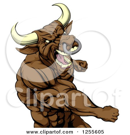 Clipart of a Tough Brown Bull or Minotaur Mascot Punching - Royalty Free Vector Illustration by AtStockIllustration