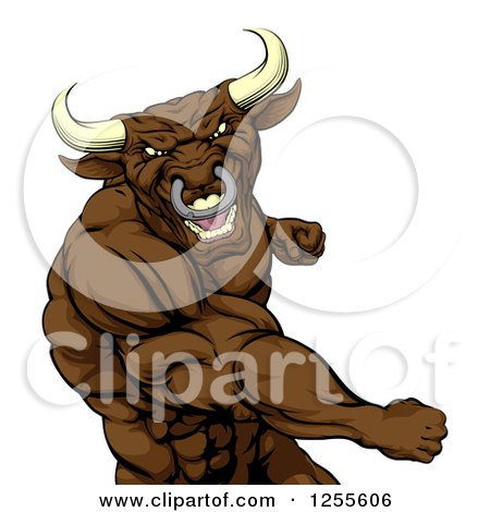 Clipart of a Mad Brown Bull or Minotaur Mascot Punching - Royalty Free Vector Illustration by AtStockIllustration