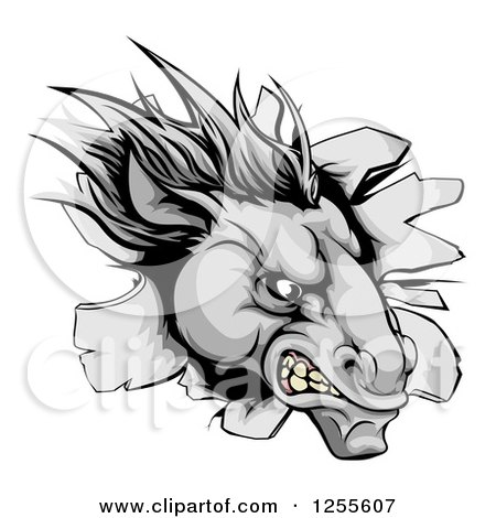 Clipart of an Aggressive Gray Horse Stallion Breaking Through a Wall - Royalty Free Vector Illustration by AtStockIllustration