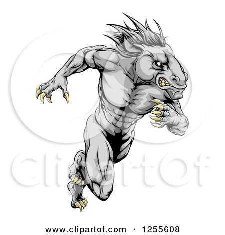 Clipart of a Muscular Aggressive Gray Stallion Horse Man Running - Royalty Free Vector Illustration by AtStockIllustration