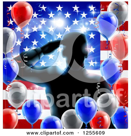 Clipart of a Silhouetted Male Military Veteran Saluting over an American Flag and Balloons - Royalty Free Vector Illustration by AtStockIllustration