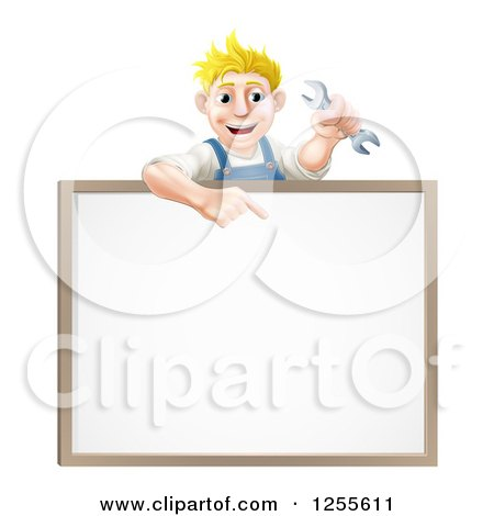 Happy Blond Caucasian Mechanic Man Holding a Wrench over a White Board Sign Posters, Art Prints