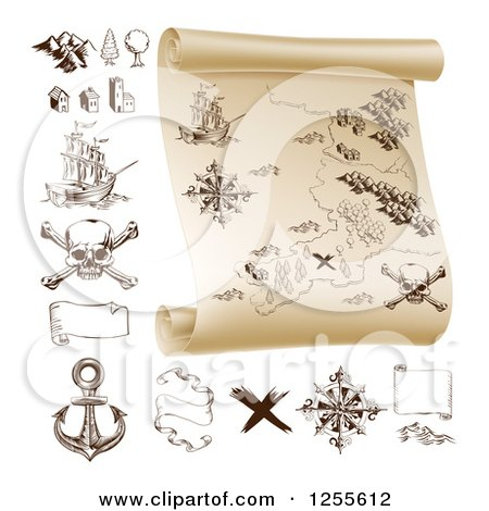 Clipart of a Pirate Treasure Map Scroll and Design Elements - Royalty Free Vector Illustration by AtStockIllustration