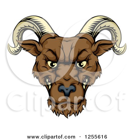 Clipart of a Snarling Ram Head - Royalty Free Vector Illustration by AtStockIllustration