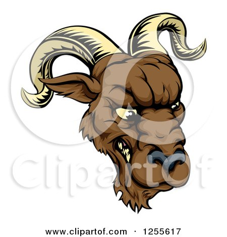 Clipart of a Snarling Ram Mascot Head - Royalty Free Vector Illustration by AtStockIllustration