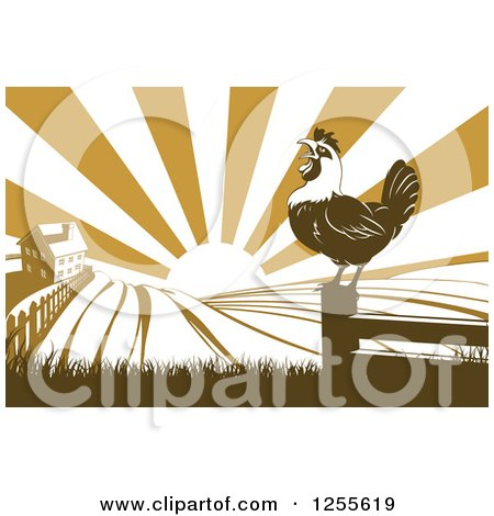 Clipart of a Sunrise over a Brown Silhouetted Farm House with a Crowing Rooster and Fields - Royalty Free Vector Illustration by AtStockIllustration