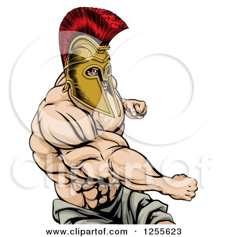Strong Spartan Warrior Mascot Punching Posters, Art Prints