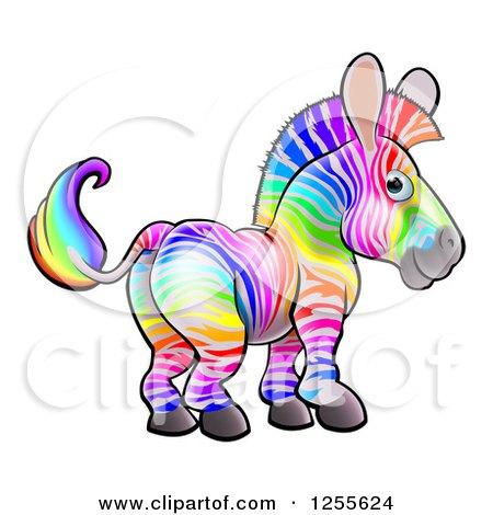 Clipart of a Rainbow Striped Zebra - Royalty Free Vector Illustration by AtStockIllustration