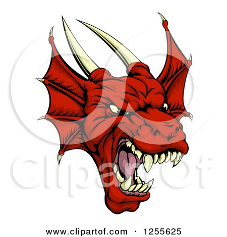 Clipart of a Roaring Red Dragon Head - Royalty Free Vector Illustration by AtStockIllustration