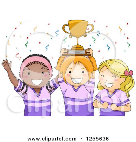 Clipart of Happy Black and White Sporty Girls Cheering with Their Trophy - Royalty Free Vector Illustration by BNP Design Studio