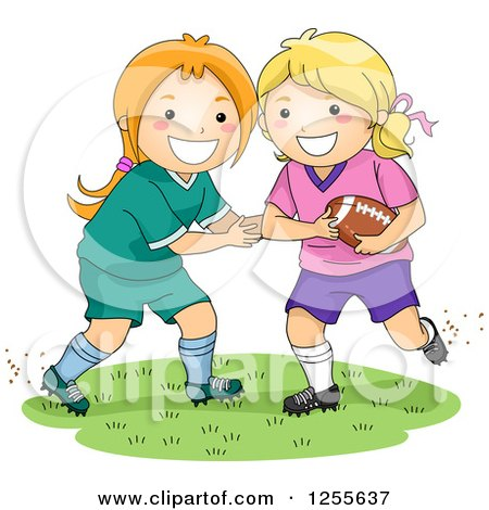 Clipart of Happy White Girls Playing American Football - Royalty Free Vector Illustration by BNP Design Studio