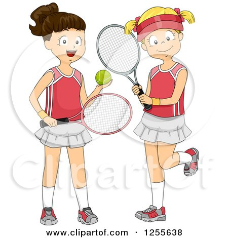 Clipart of Brunette and Blond White Girls with Tennis Gear - Royalty Free Vector Illustration by BNP Design Studio
