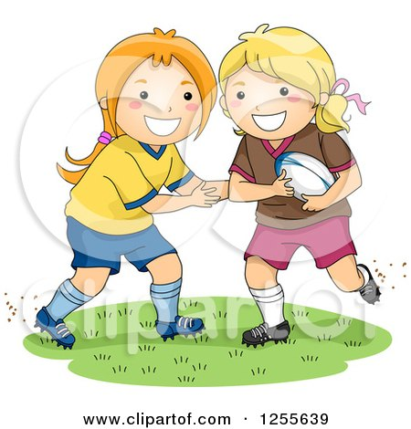 Clipart of Happy White Girls Playing Rugby Football - Royalty Free Vector Illustration by BNP Design Studio