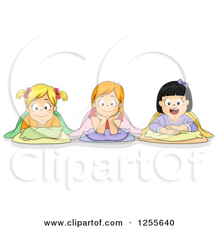 Clipart of Caucasian and Asian Girls with Their Bedding at a Slumber Party - Royalty Free Vector Illustration by BNP Design Studio