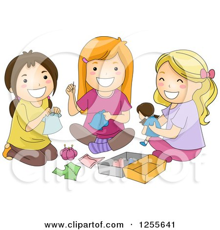 Clipart of Hispanic and White Girls Sewing Clothes for a Doll - Royalty Free Vector Illustration by BNP Design Studio
