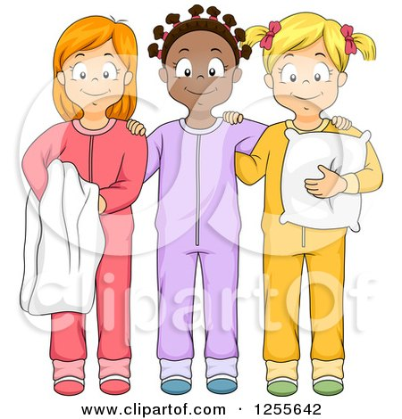 Clipart of Happy Black and White Girls Smiling in Their Footie Pajamas at a Slumber Party - Royalty Free Vector Illustration by BNP Design Studio