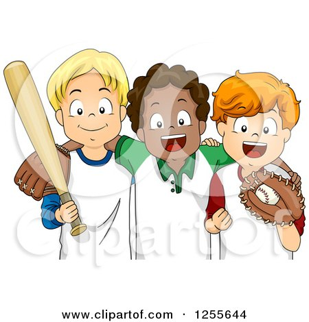 Clipart of White and Black Boys with Baseball Gear - Royalty Free Vector Illustration by BNP Design Studio