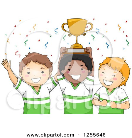 Clipart of White and Black Baseball Boys Holding a Championship Trophy - Royalty Free Vector Illustration by BNP Design Studio