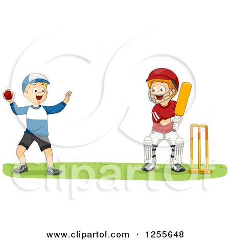 Clipart of White Boys Playing Cricket - Royalty Free ...
