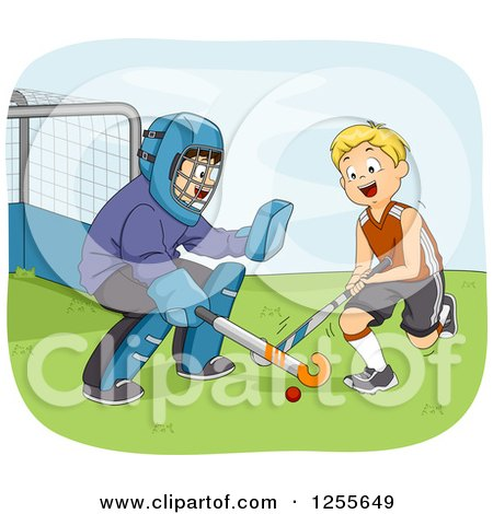 Clipart of White Boys Playing Field Hockey - Royalty Free Vector Illustration by BNP Design Studio