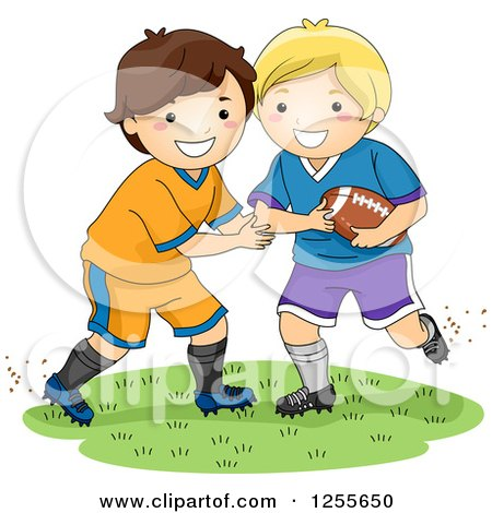 Clipart of White Boys Playing American Football - Royalty Free Vector Illustration by BNP Design Studio