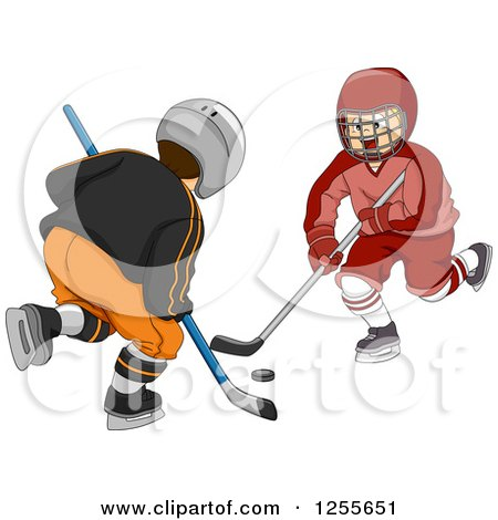 Clipart of Two Boys Playing Ice Hockey - Royalty Free Vector Illustration by BNP Design Studio