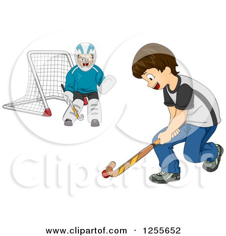 Clipart of Happy Boys Playing Field Hockey - Royalty Free Vector Illustration by BNP Design Studio