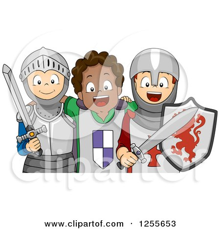 Clipart of Happy White and Black Boys Pretending to Be Knights - Royalty Free Vector Illustration by BNP Design Studio