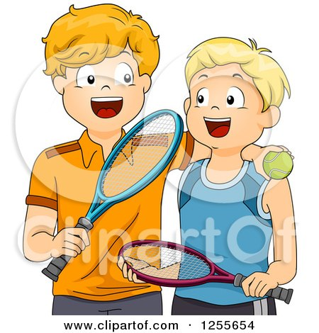Clipart of Happy White Boys with Tennis Gear - Royalty Free Vector Illustration by BNP Design Studio