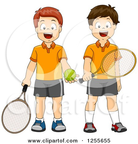 Clipart of Caucasian Boys Ready to Play Tennis - Royalty Free Vector Illustration by BNP Design Studio