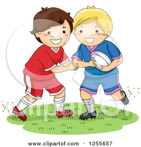 Clipart of White Boys Playing Rugby Football - Royalty Free Vector Illustration by BNP Design Studio