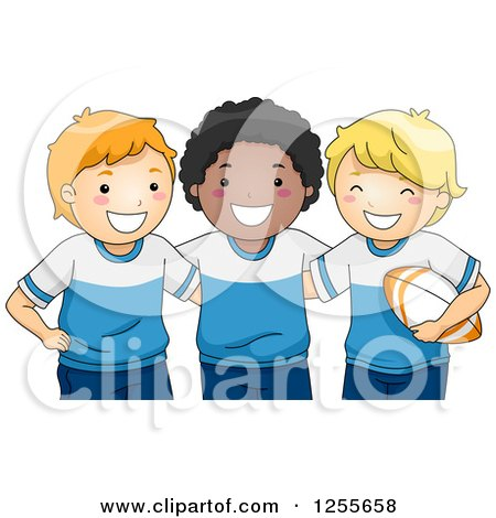 Clipart of Happy White and Black Boys in Rugby Uniforms - Royalty Free Vector Illustration by BNP Design Studio