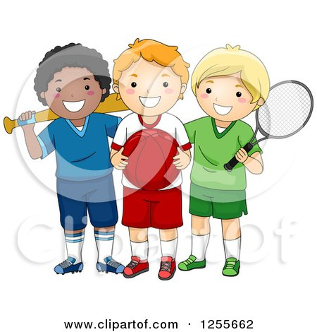 Clipart of White and Black Boy with Different Sports Gear - Royalty Free Vector Illustration by BNP Design Studio