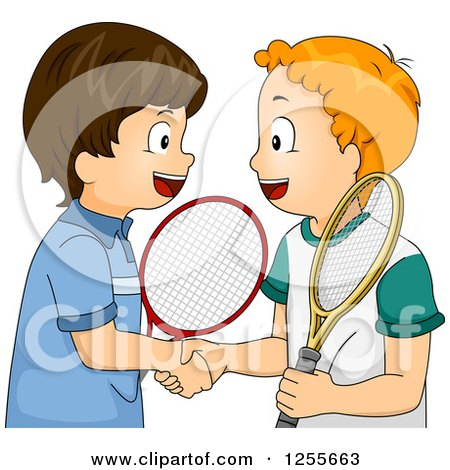 Clipart of Caucasian Tennis Boys Shaking Hands - Royalty Free Vector Illustration by BNP Design Studio