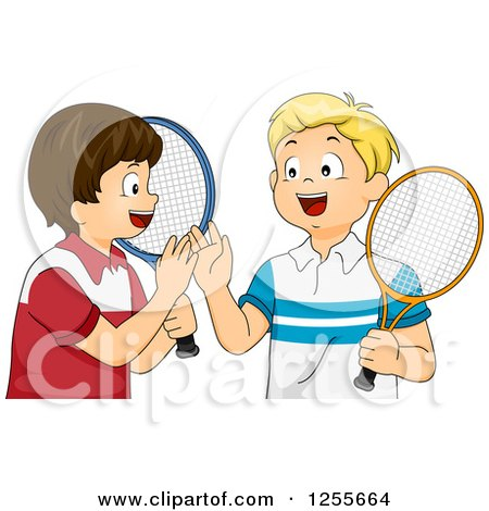 Clipart of Caucasian Tennis Boys Giving a High Five - Royalty Free Vector Illustration by BNP Design Studio