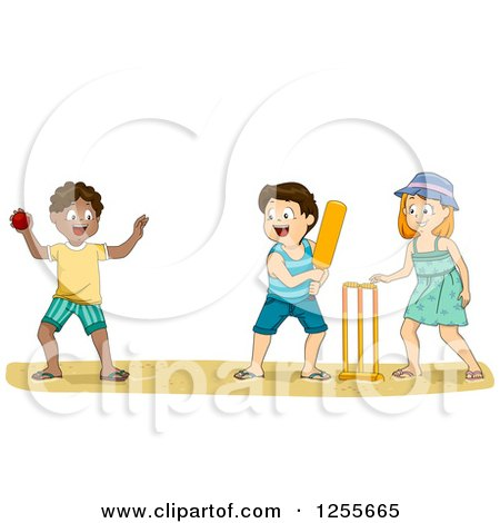 Clipart of White and Black Children Playing Cricket on a Beach - Royalty Free Vector Illustration by BNP Design Studio