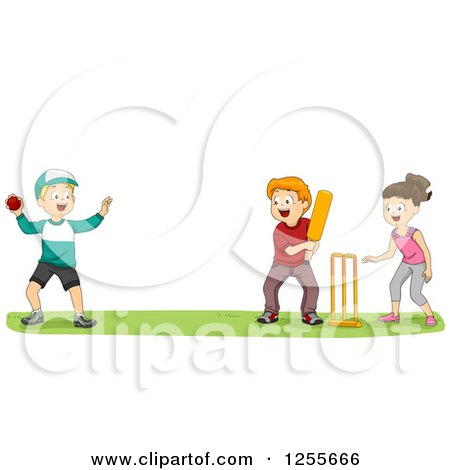 Clipart of a Girl and Boys Playing Cricket at a Park - Royalty Free Vector Illustration by BNP Design Studio