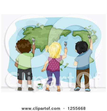 Clipart of a Rear View of Black White and Asian Children Painting a World Map - Royalty Free Vector Illustration by BNP Design Studio