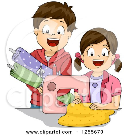 Clipart of a Brunette White Boy and Girl Sewing - Royalty Free Vector Illustration by BNP Design Studio