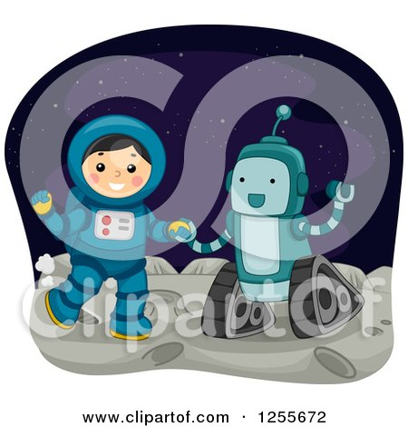 Clipart of a Boy Astronaut and Robot on the Moon - Royalty Free Vector Illustration by BNP Design Studio
