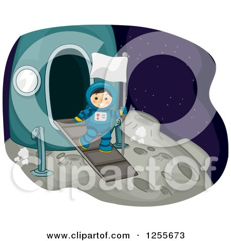 Clipart of a Boy Astrunaut Carrying a Flag on the Moon - Royalty Free Vector Illustration by BNP Design Studio