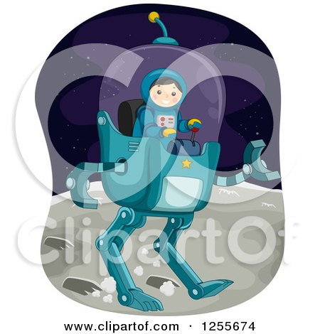 Clipart of a Boy Astronaut Controlling a Robot Vehicle on the Moon - Royalty Free Vector Illustration by BNP Design Studio