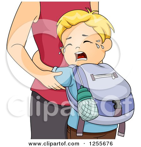 Clipart Of A Blond White School Boy Crying And Clinging To His Mother Royalty Free Vector Illustration