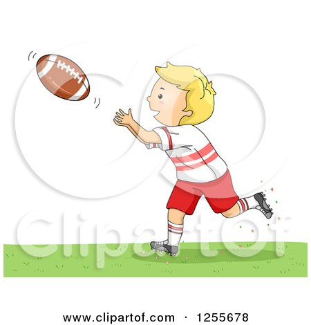 Clipart of a Blond White Boy Catching an American Football - Royalty Free Vector Illustration by BNP Design Studio