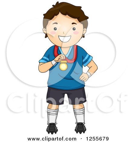Clipart of a Brunette White Boy Holding a Medal - Royalty Free Vector Illustration by BNP Design Studio